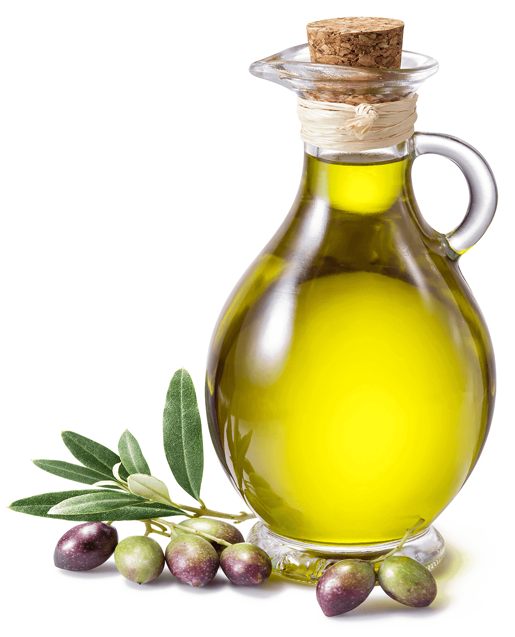 Bottle of olive oil with fresh olives